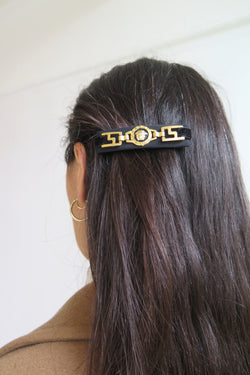 Vintage Black and Gold Silk Hair Clip - Studio Travel