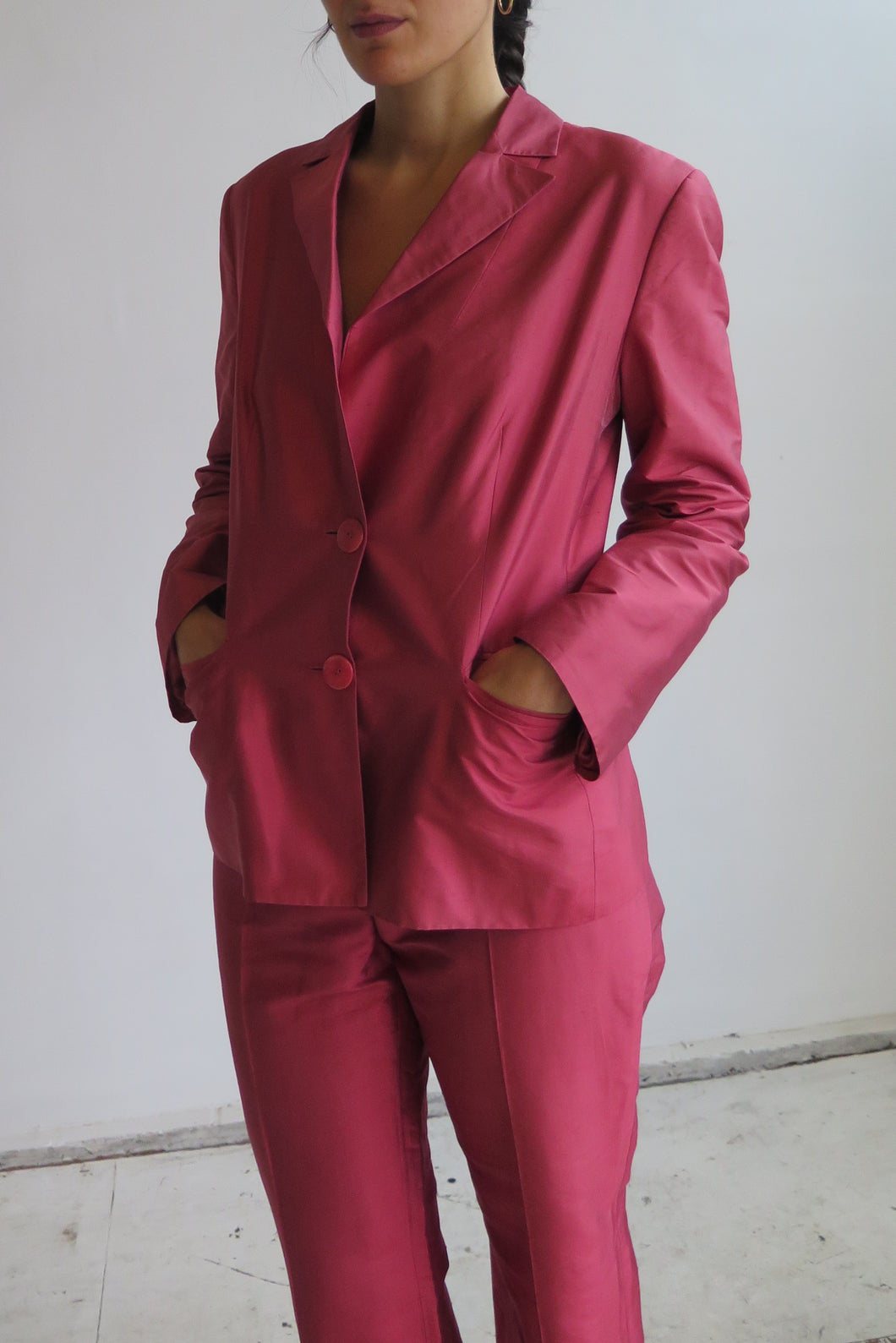Luisa Spagnoli Fuchsia Silk Trousers Set - Studio Travel