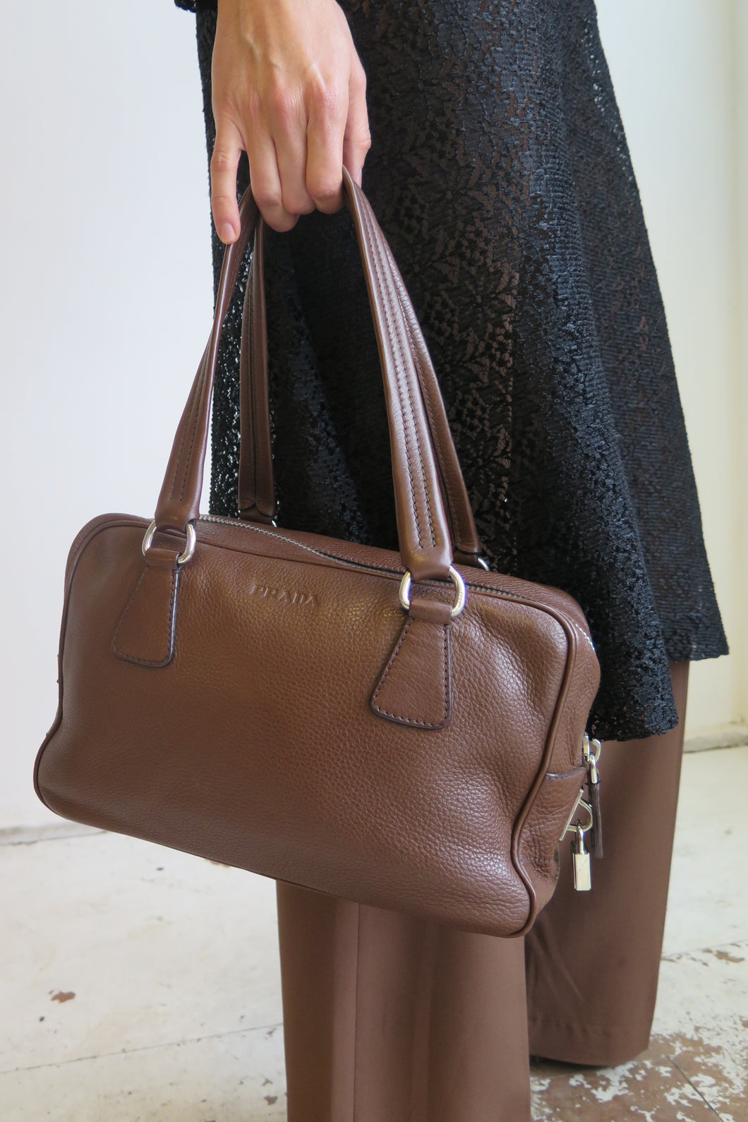 Prada Brown Leather Bowling Shape Bag - Studio Travel