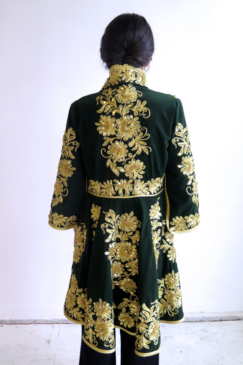 Baroque Green Velvet Frock Coat - Studio Travel