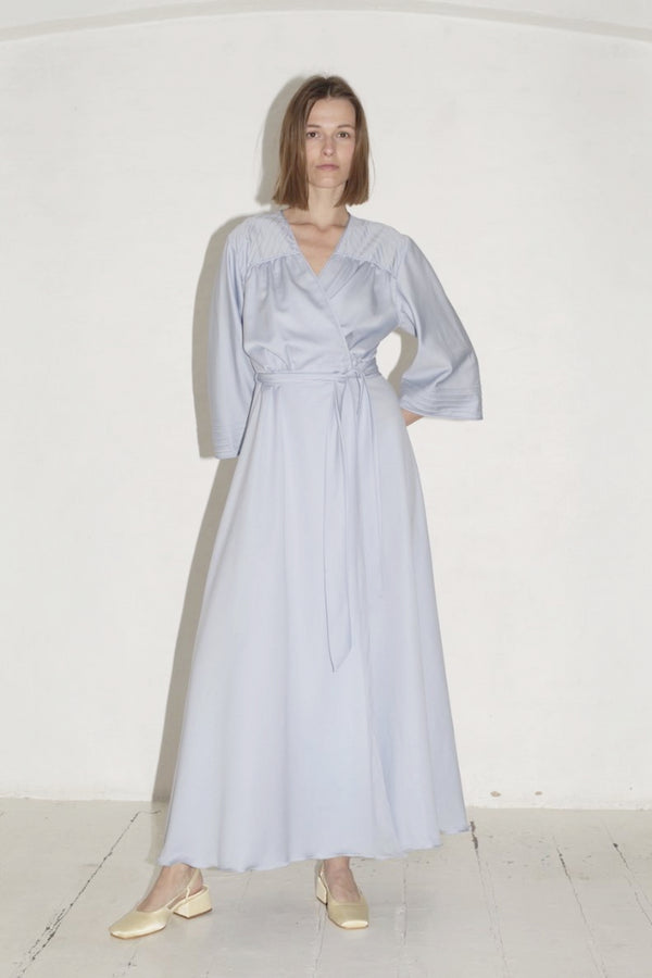 Vintage Light Blue Wrap Gown