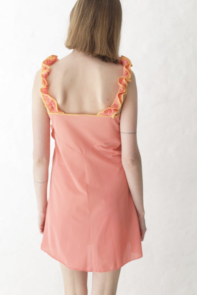 Peach Embroidered Flower Dress