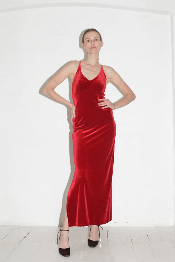 Floorlength Red Velvet Dress