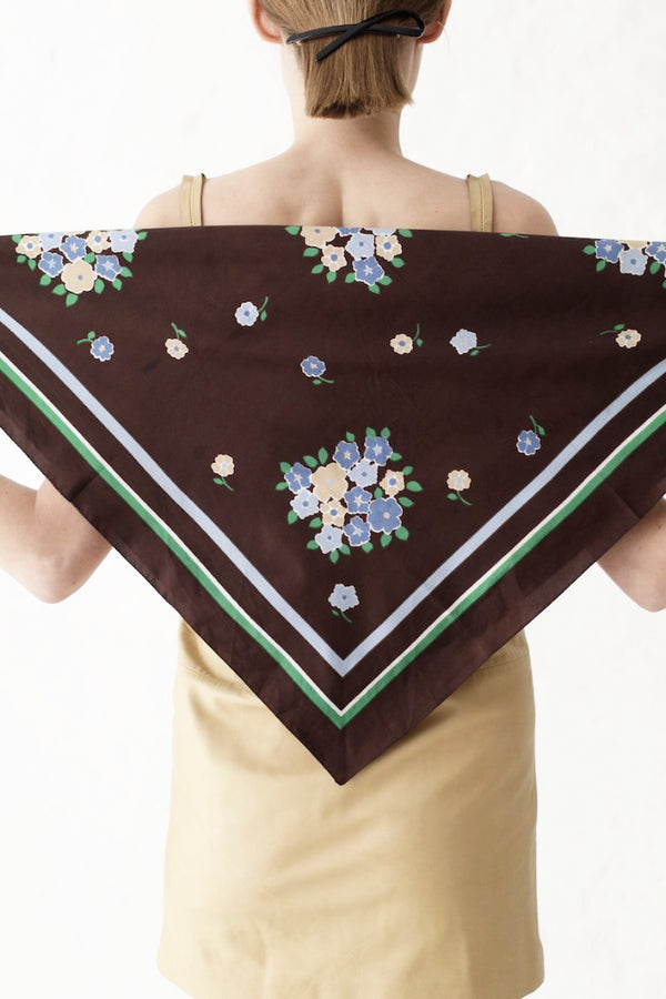 Vintage Brown Flower Scarf