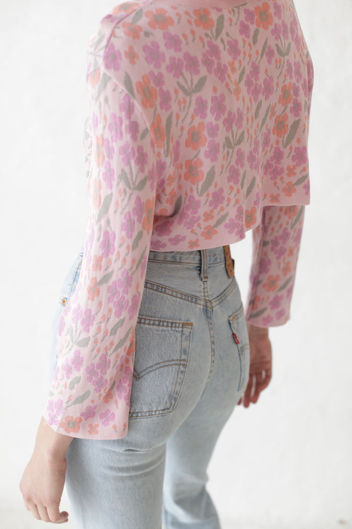 Valentino Cropped Flower Knit Cardigan