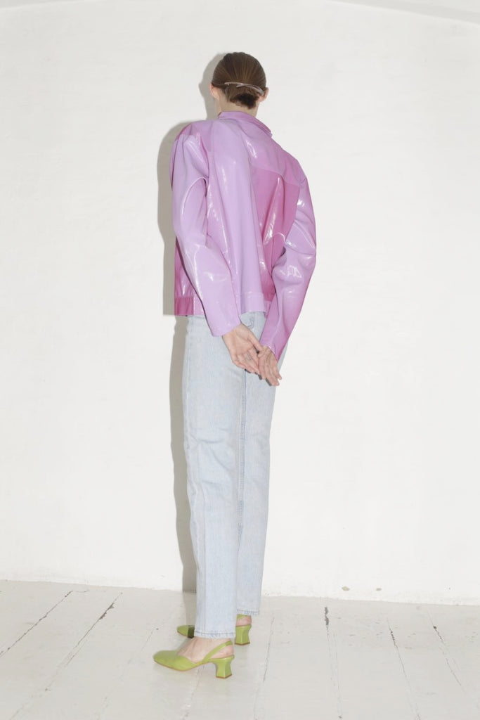 Iridescent Pink Pvc Zipper Jacket