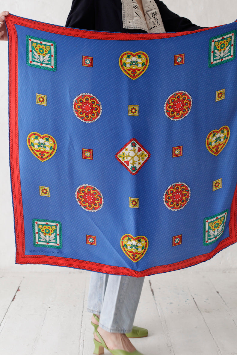 Vintage Royal Blue Silk Scarf
