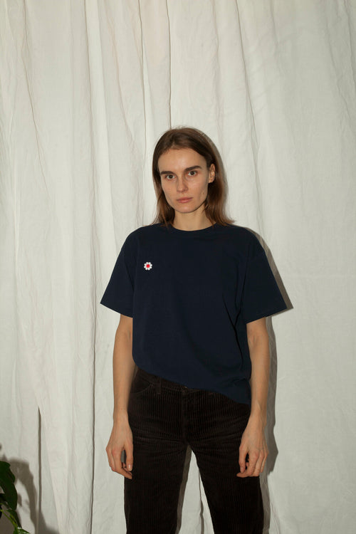 Embroidered Flower Patch Navy T-Shirt