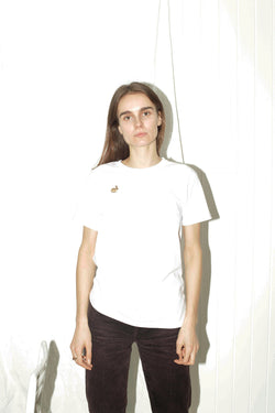 Embroidered Rabbit Patch White T-Shirt