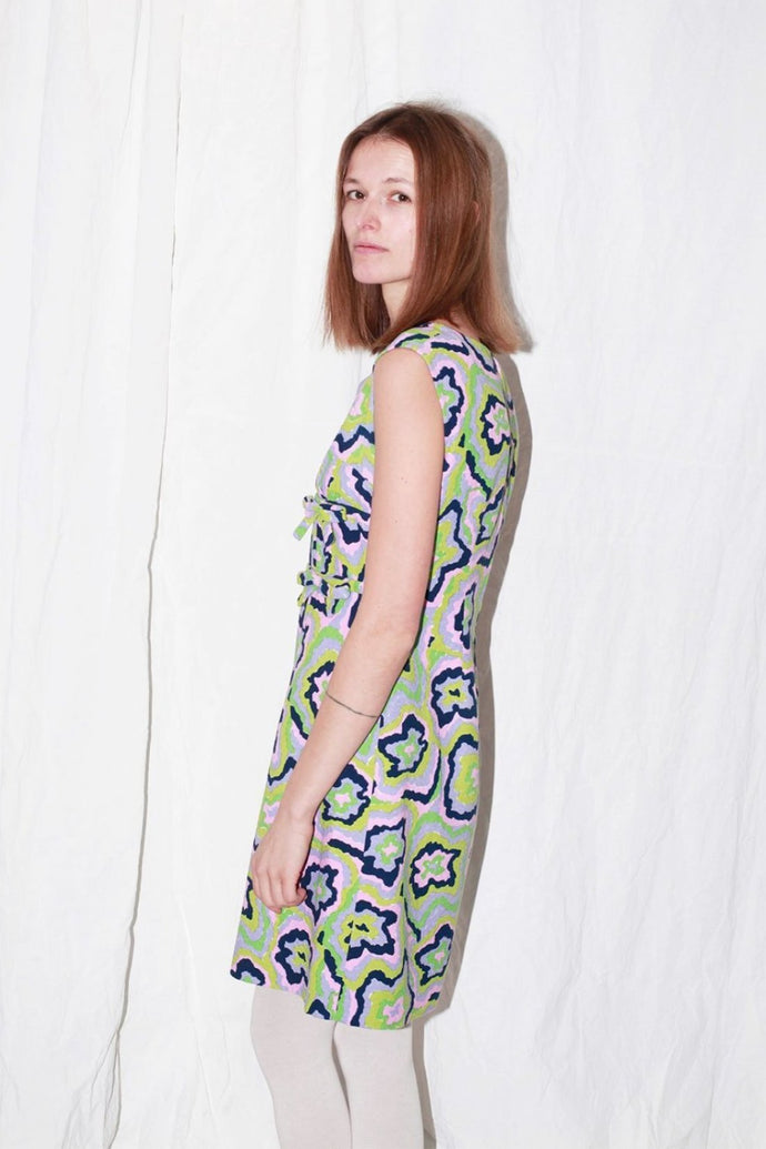 Handmade multicolored 60s Patterned Cotton Dress