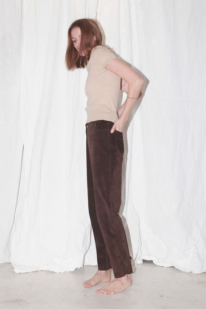 Suede Leather Brown Pants