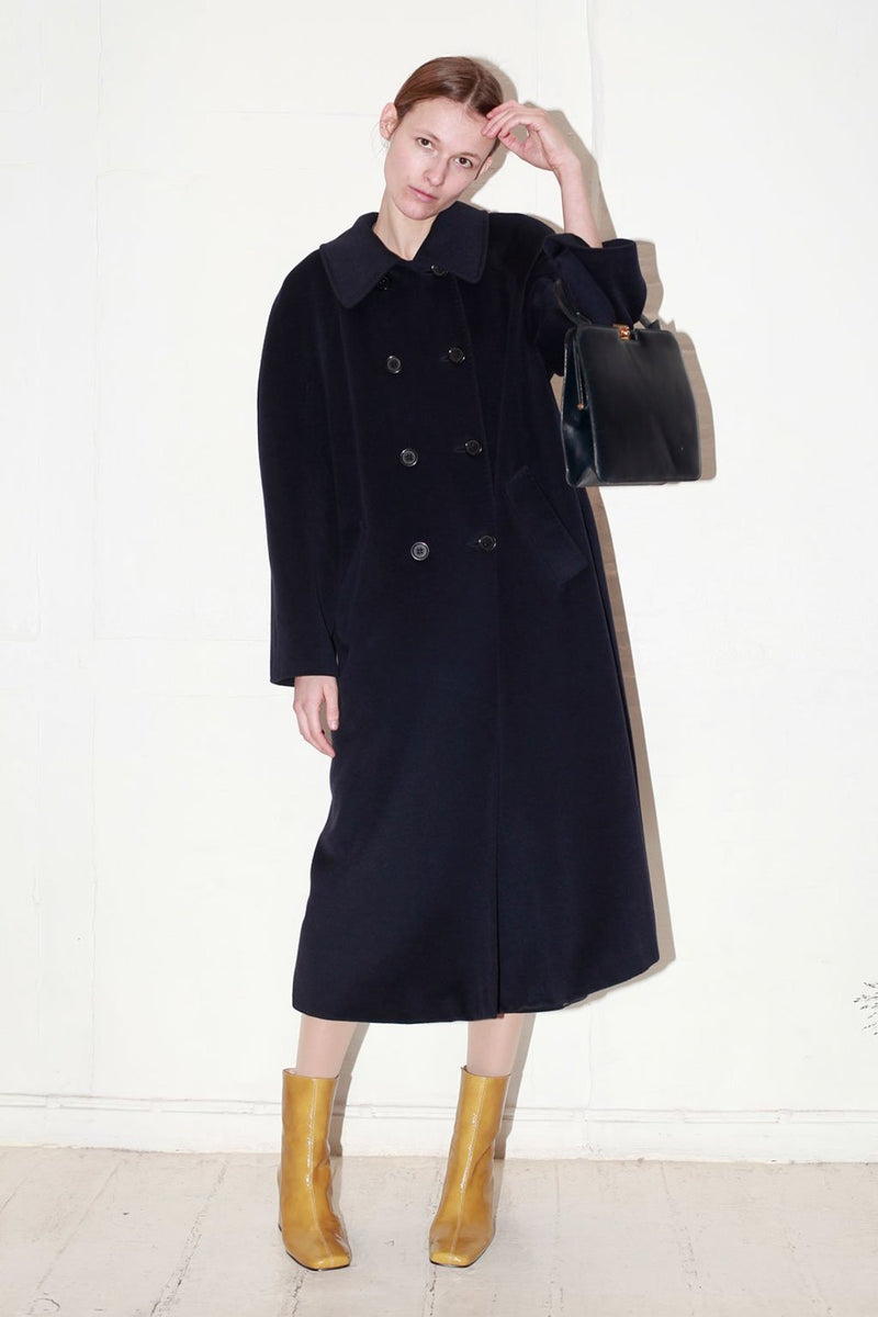 Pierre Cardin Navy Long Wool Coat