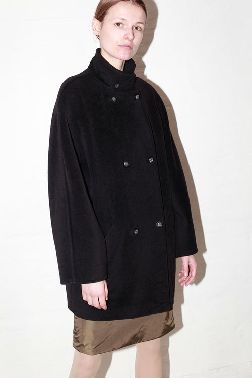 Max Mara Black Wool Peacoat