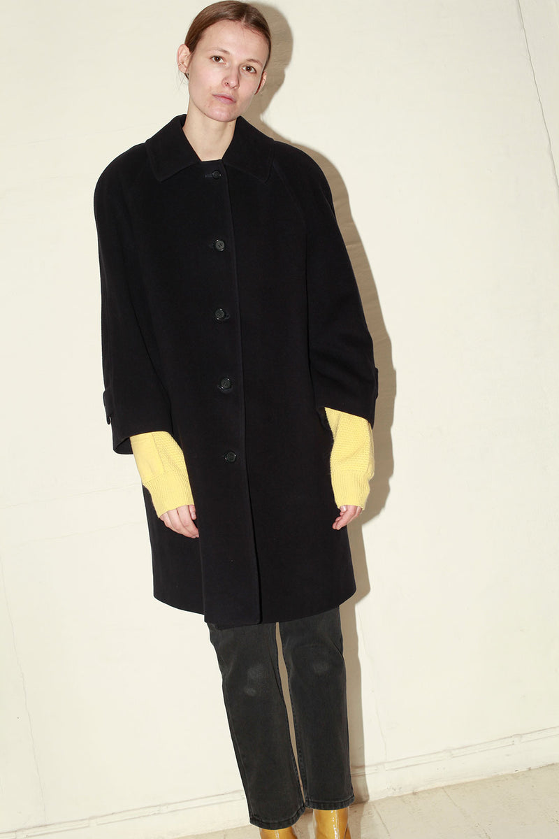 Burberry Navy Wool Cashmere Coat