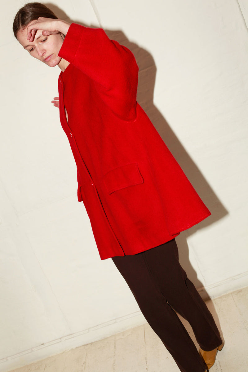 Christian Dior Red Wool Coat
