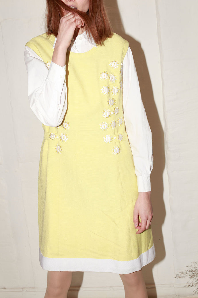 Crafted Yellow Linen Embroidery Dress