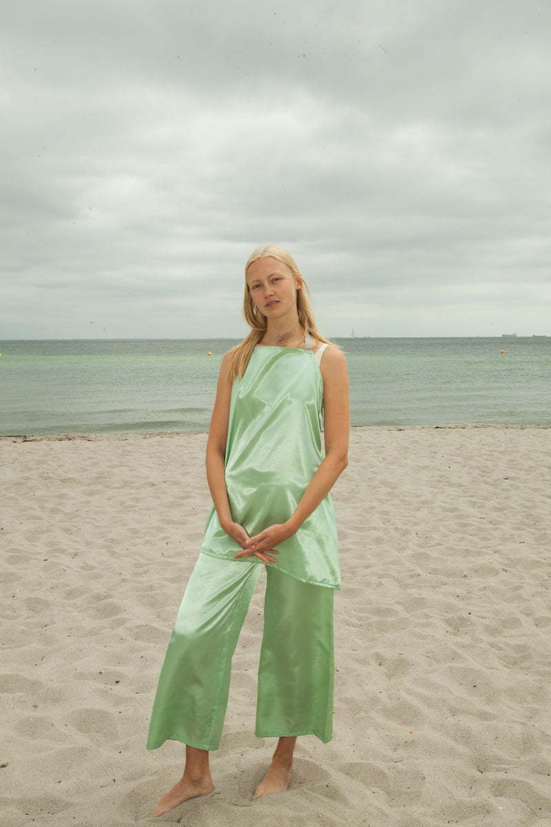 Mint Satin Wide Leg Pants