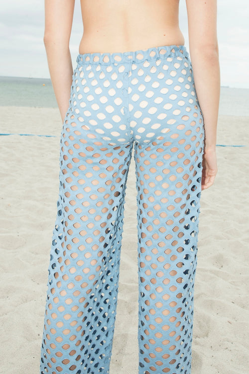 Sky Blue Net Wide Leg Pants