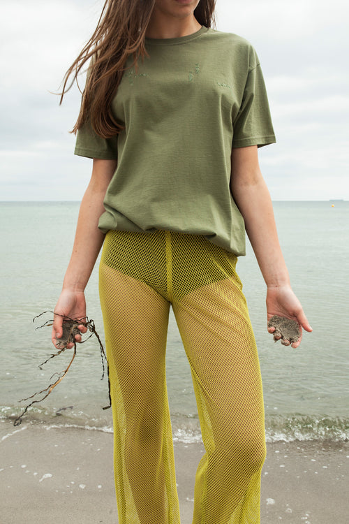 Acid Green Net Wide Leg Pants