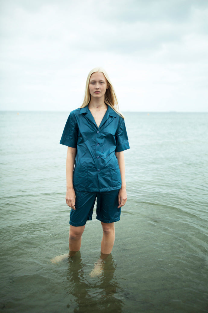 Unisex Prussian Blue Nylon Pyjamas