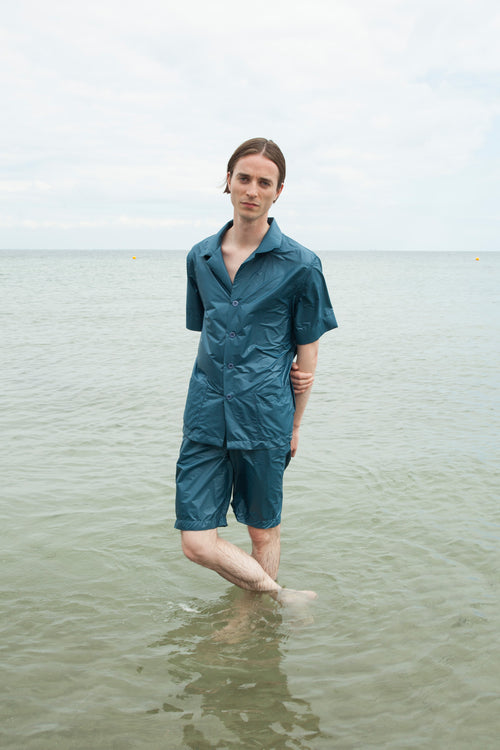 Unisex Prussian Blue Nylon Pyjamas Shorts