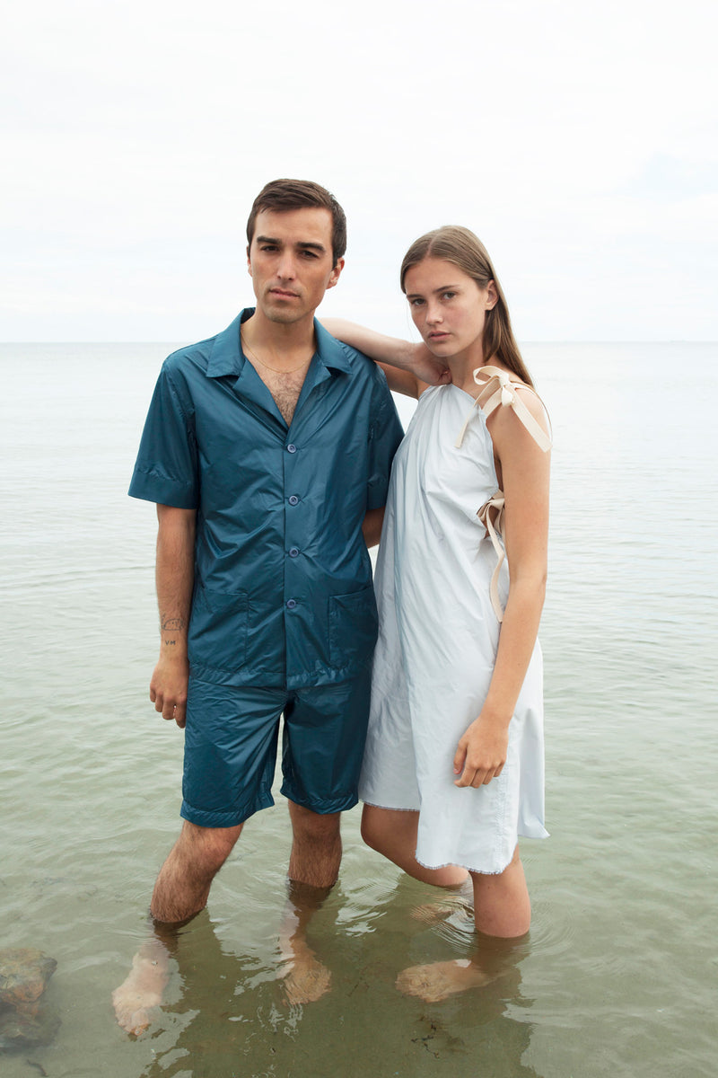 Unisex Prussian Blue Nylon Pyjamas Shirt