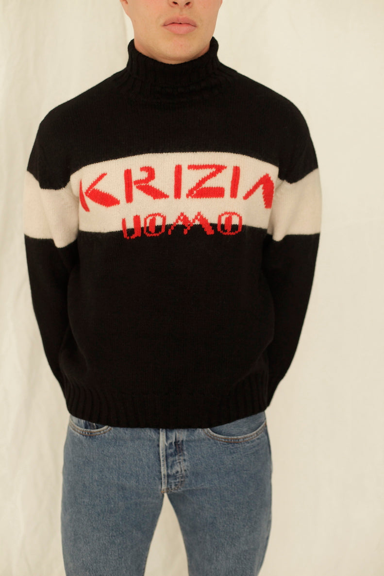 Krizia Oumo Knitted Striped Turtleneck