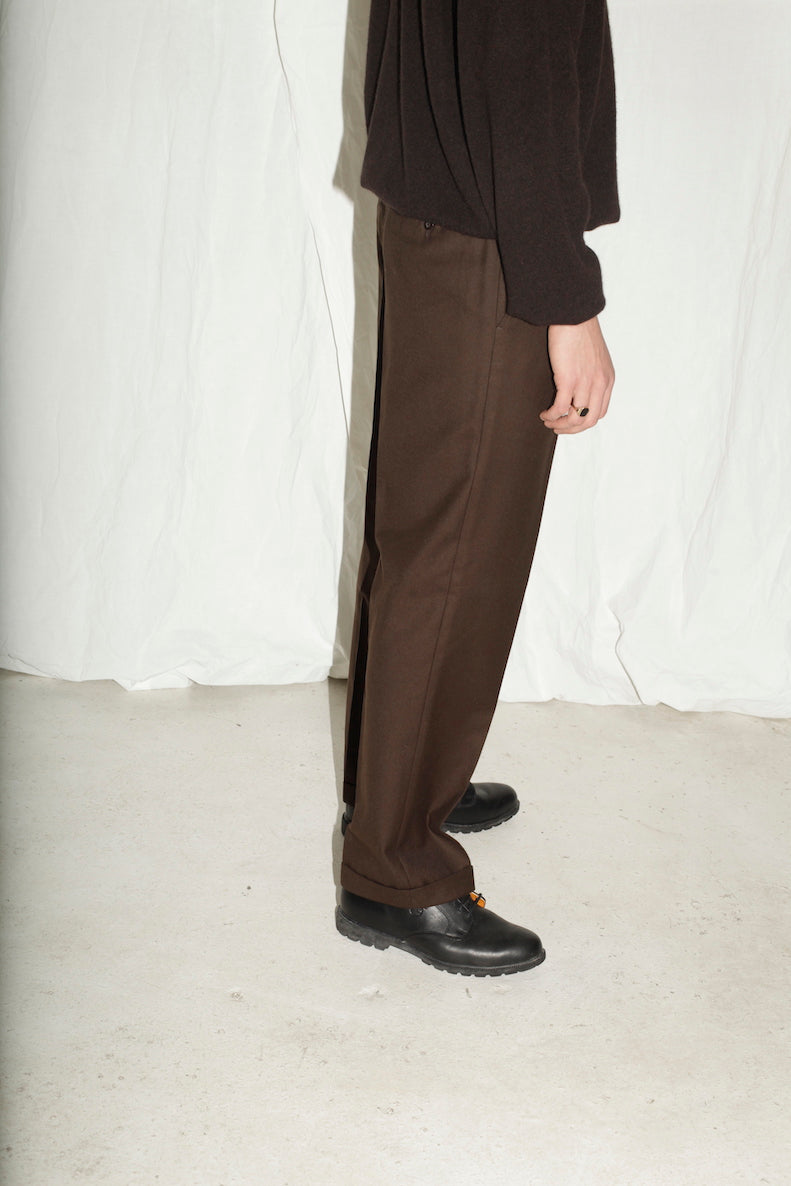 Brown Tailored Wool Trousers