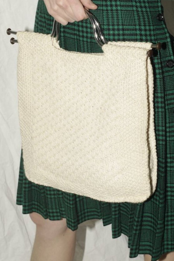 Knitted Offwhite Rectunglar Metal Handle Bag