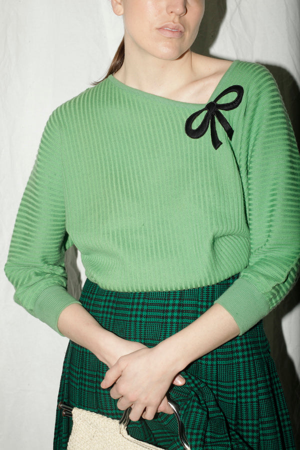 Valentino Green Ribbed Knit With Bow