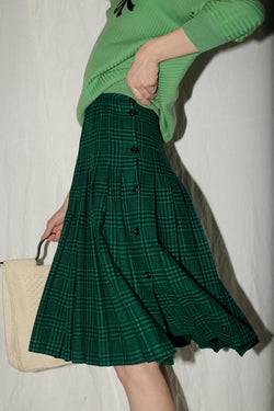 Valentino Green Houndstooth Pleated Wool Skirt