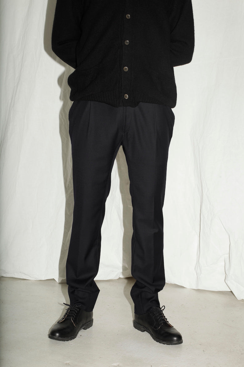 Versace Navy Tailored Wool Trousers