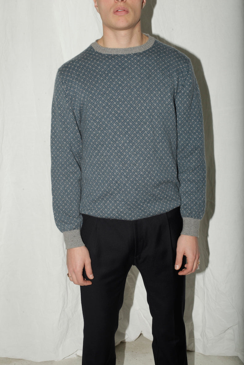 Cashmere Grey Blue Patterned Sweater