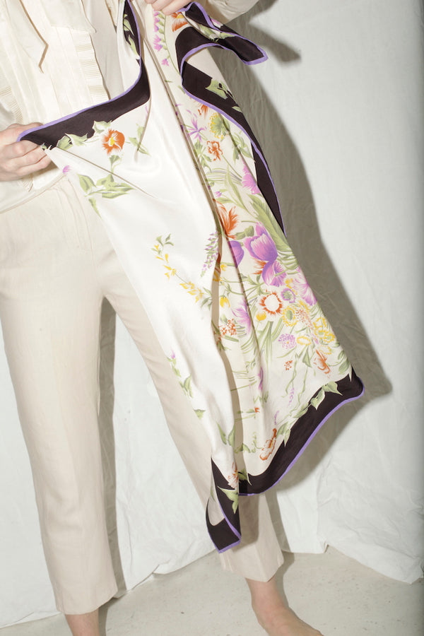 Gucci Silk Scarf With Flower Pattern