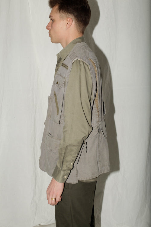 Army Grey Multipocket Cotton Vest