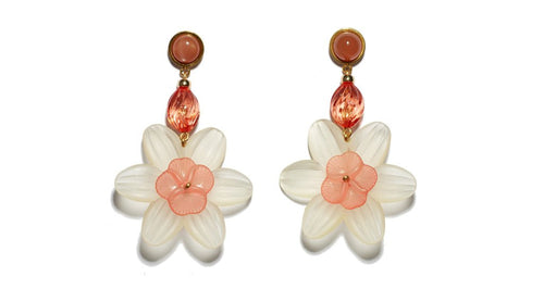 Lizzie Fortunato Lemonade Earrings Lemon and pink acrylic flower earrings with pink lucite beads and peach moonstone semi-precious tops