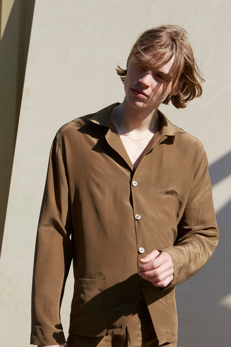 Unisex Olive Silk Pyjamas - Studio Travel