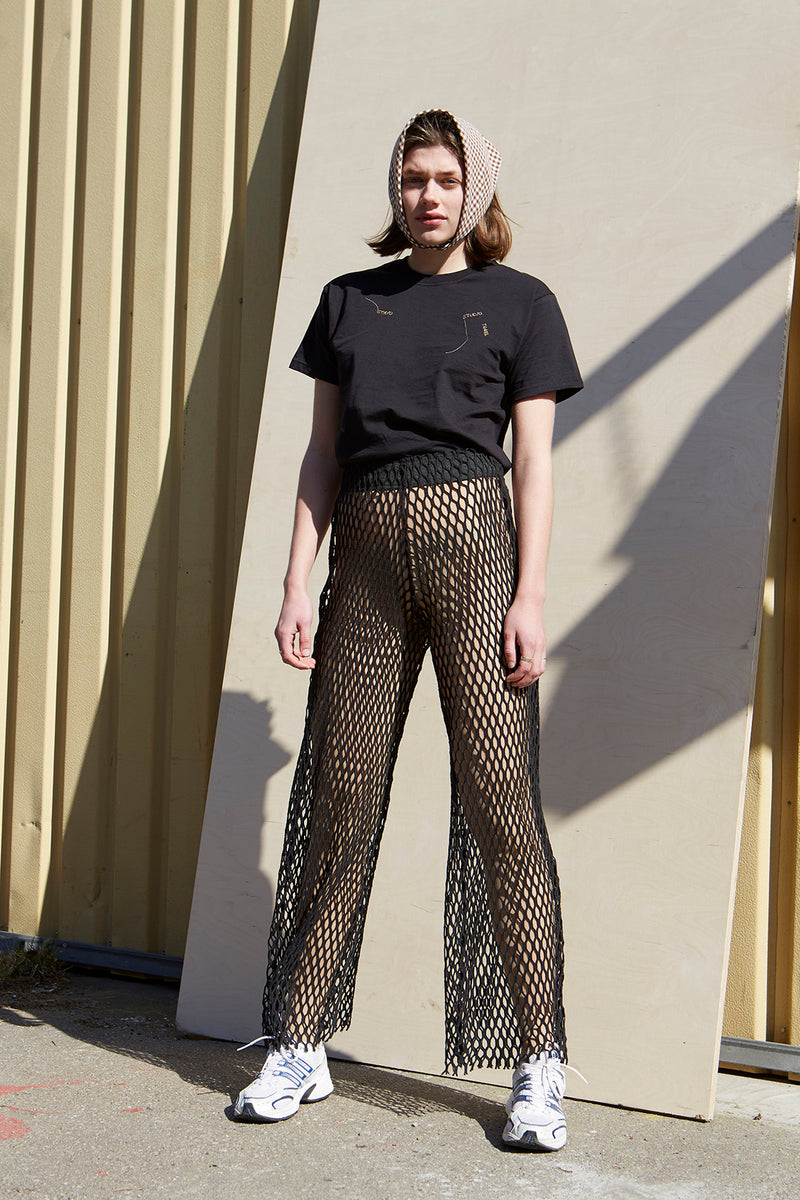 Black Net Wide Leg Pants - Studio Travel