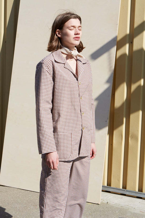 Checked Unisex Brown Pyjamas - Studio Travel