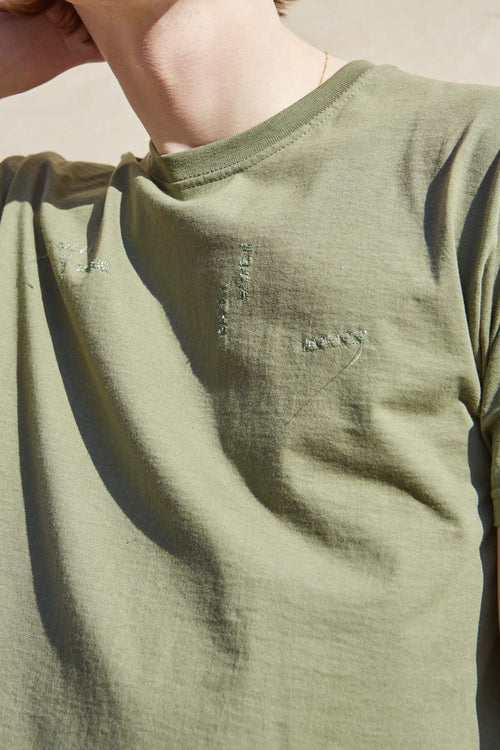 One-of-a-kind Embroidered Green T-Shirt - Studio Travel