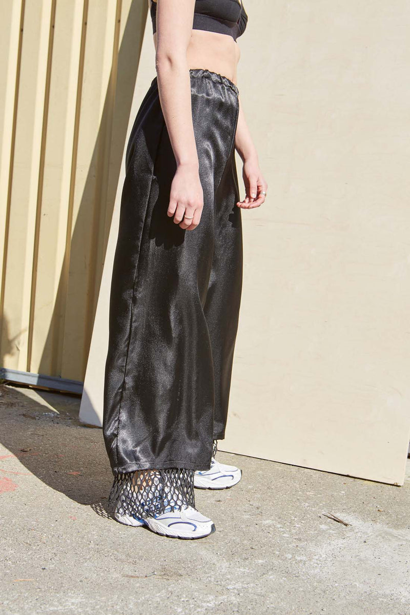 Black Satin Wide Leg Pants - Studio Travel