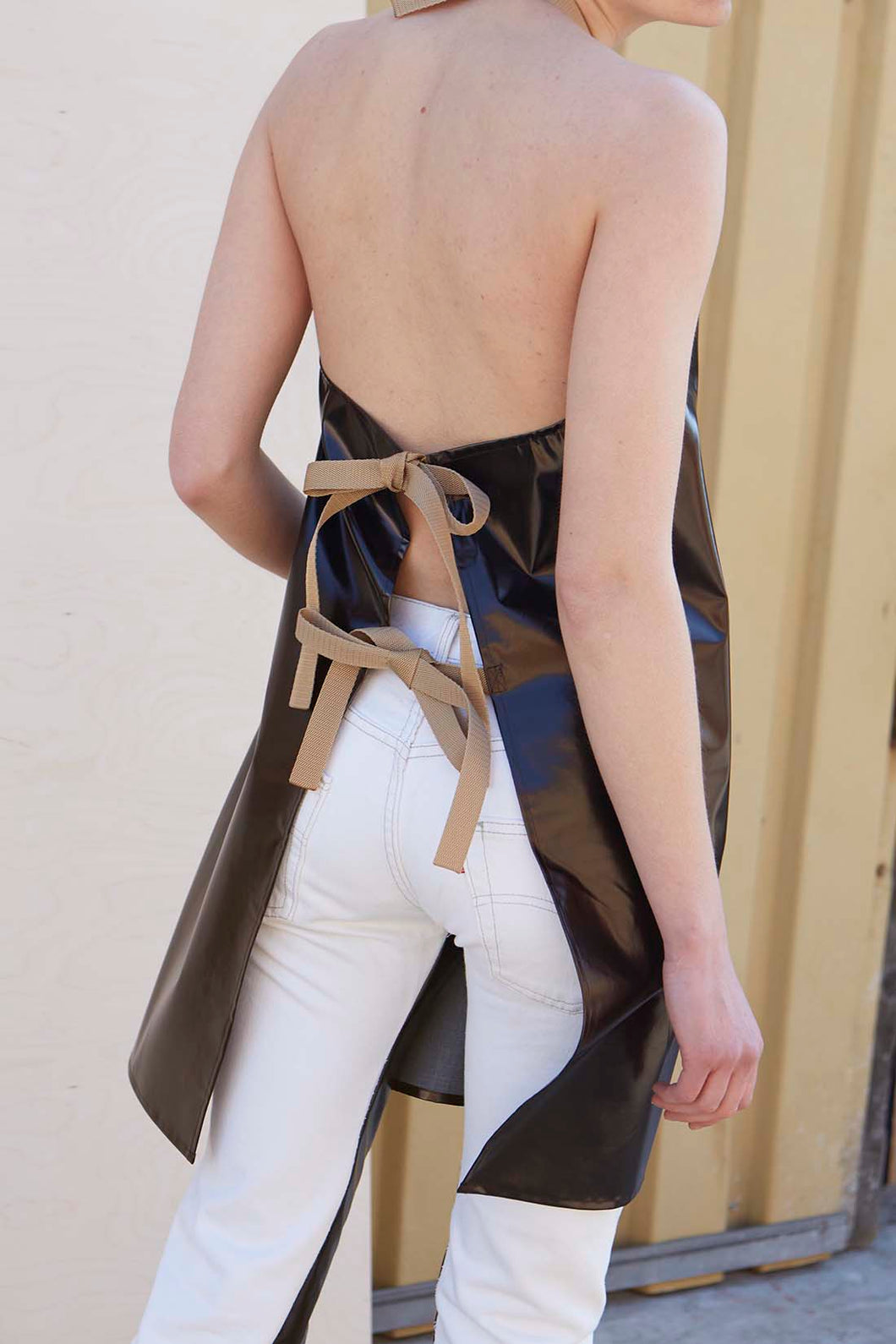 Unisex Brown PVC Apron With Golden Nylon Straps - Studio Travel