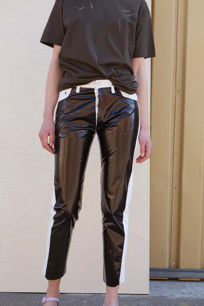 One-Of-A-Kind Redesigned Levis Pants With Brown PVC - Studio Travel