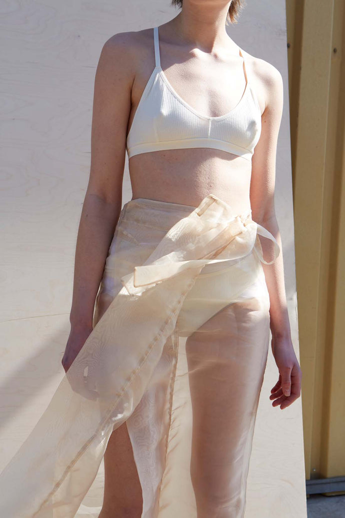 See-through Nude Organza Wrap Skirt - Studio Travel