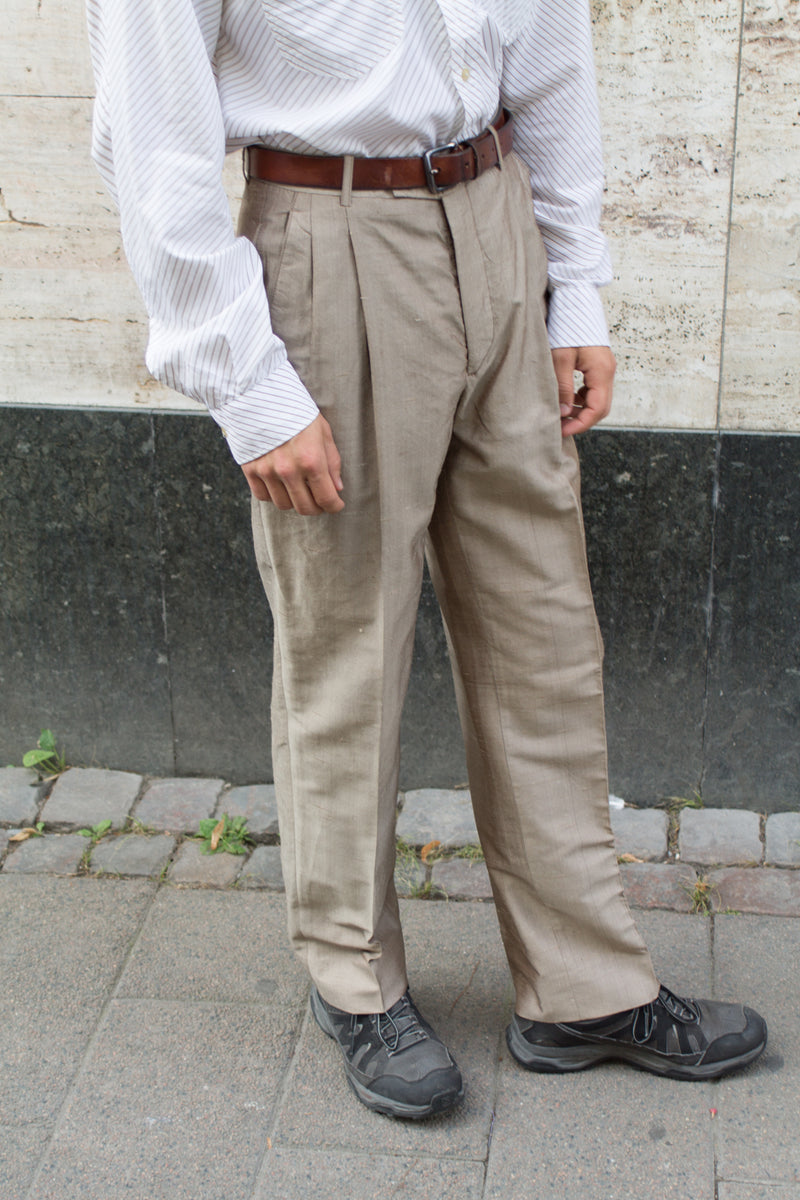 Beige Tailored Silk Trousers