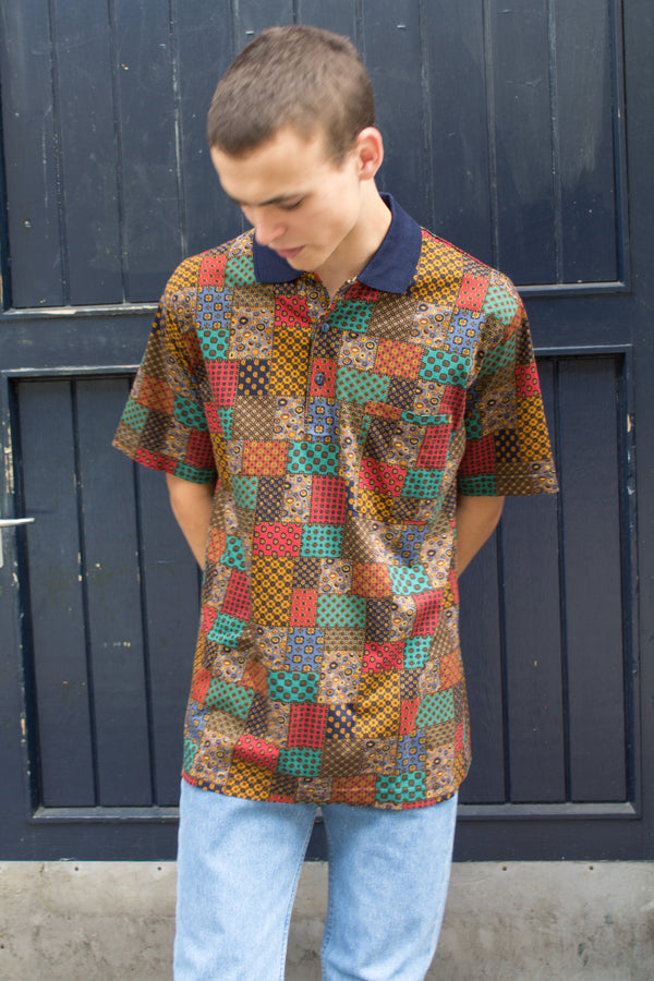 Printed Swatch Patch Polo Shirt