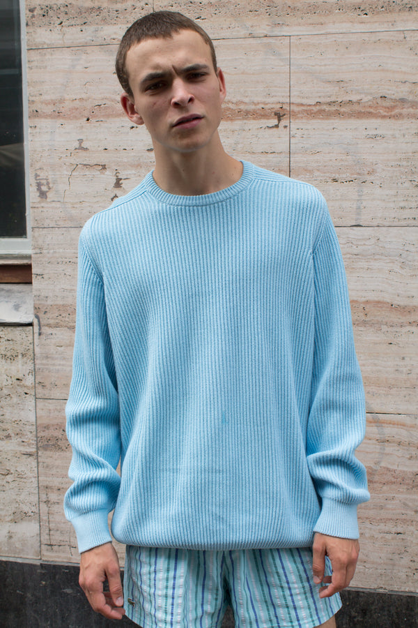 Valentino Turquoise Blue Cotton Sweater