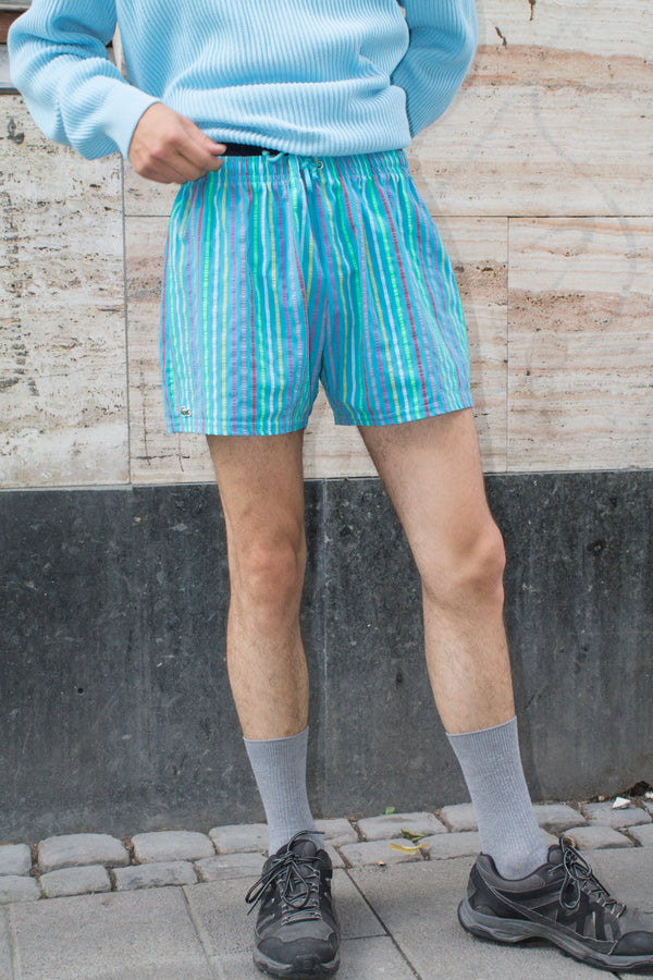Lacoste Dark Turquoise Striped Swim Shorts