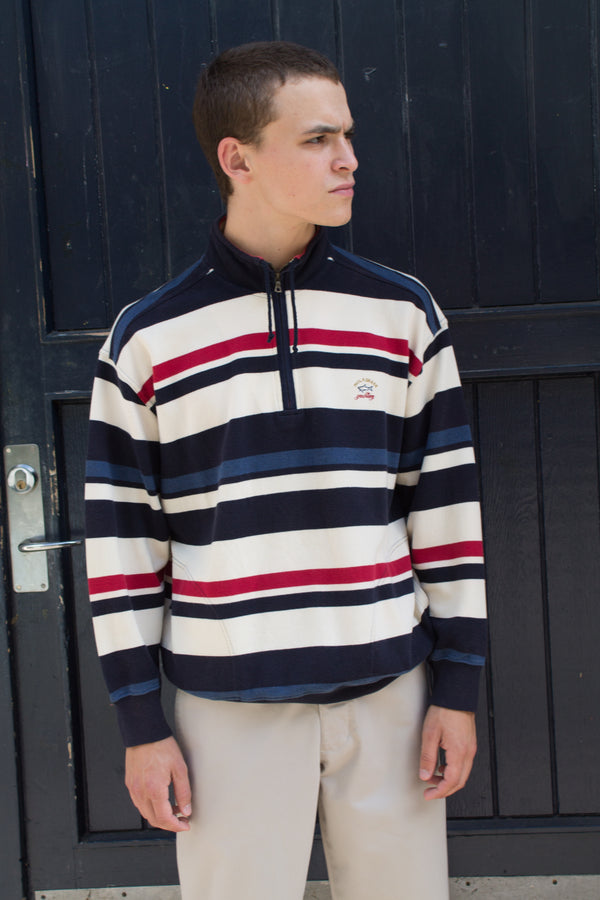 Paul & Shark Blue Red Striped Sweater