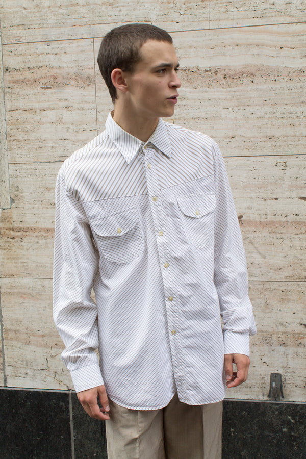 Beige Offwhite Striped Shirt